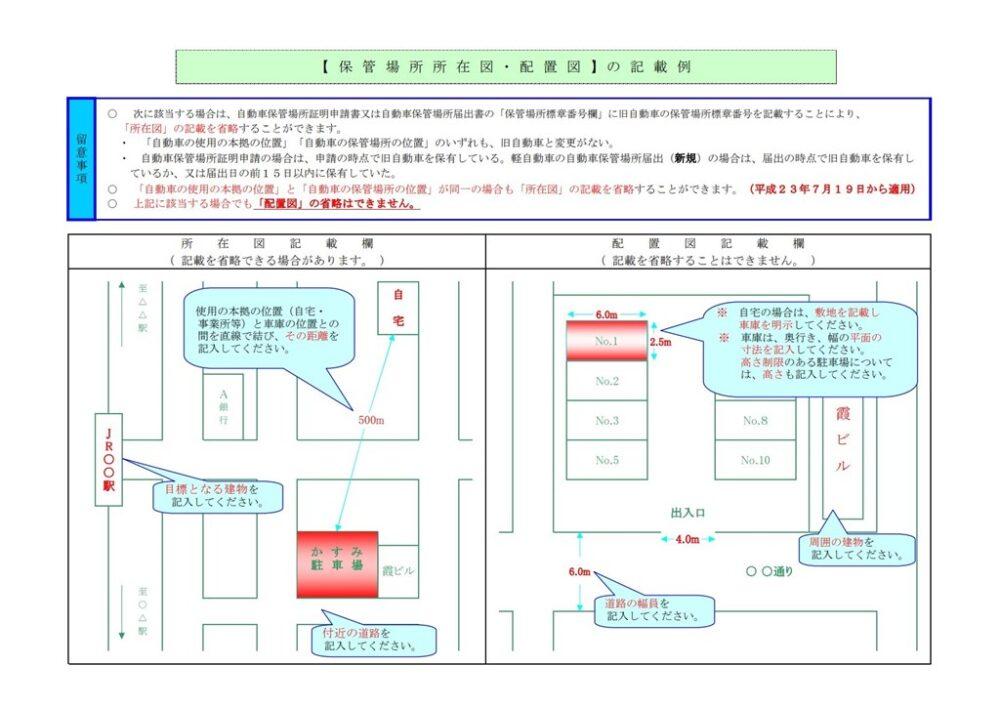 保管場所所在図・配置図記述例